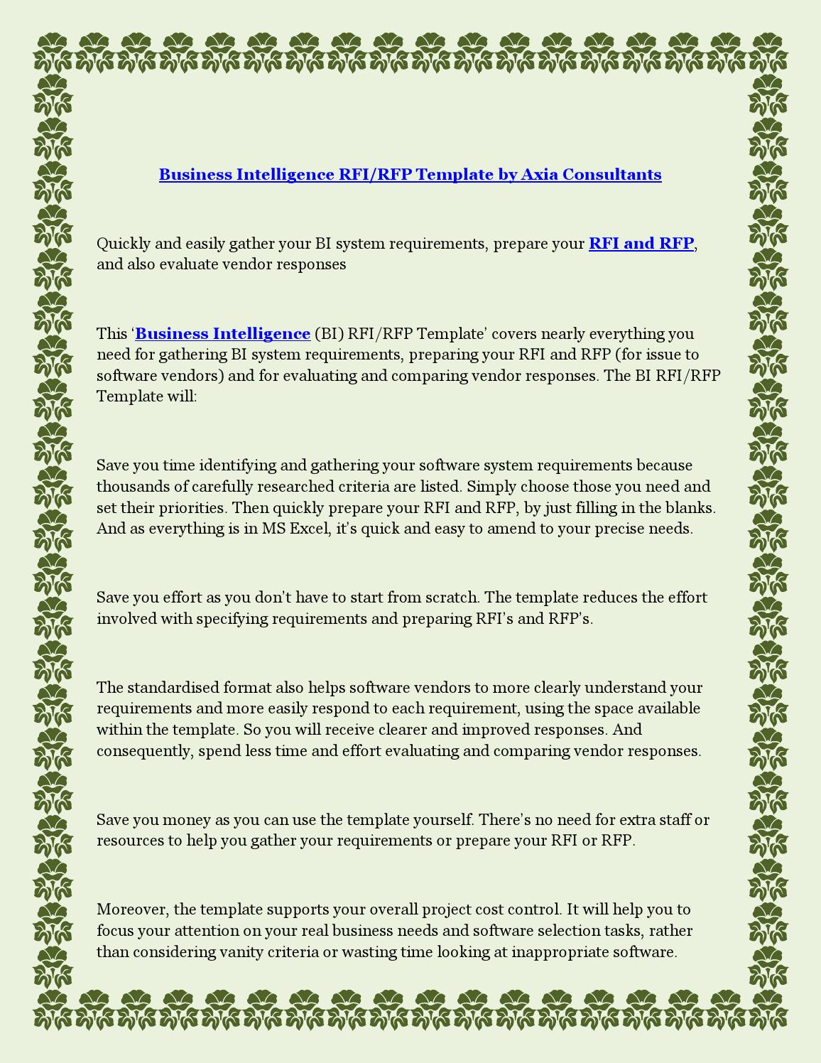 Business intelligence rfi rfp template by axia consultants by business intelligence rfi rfp template by axia consultants by rustamdrov issuu flashek Images