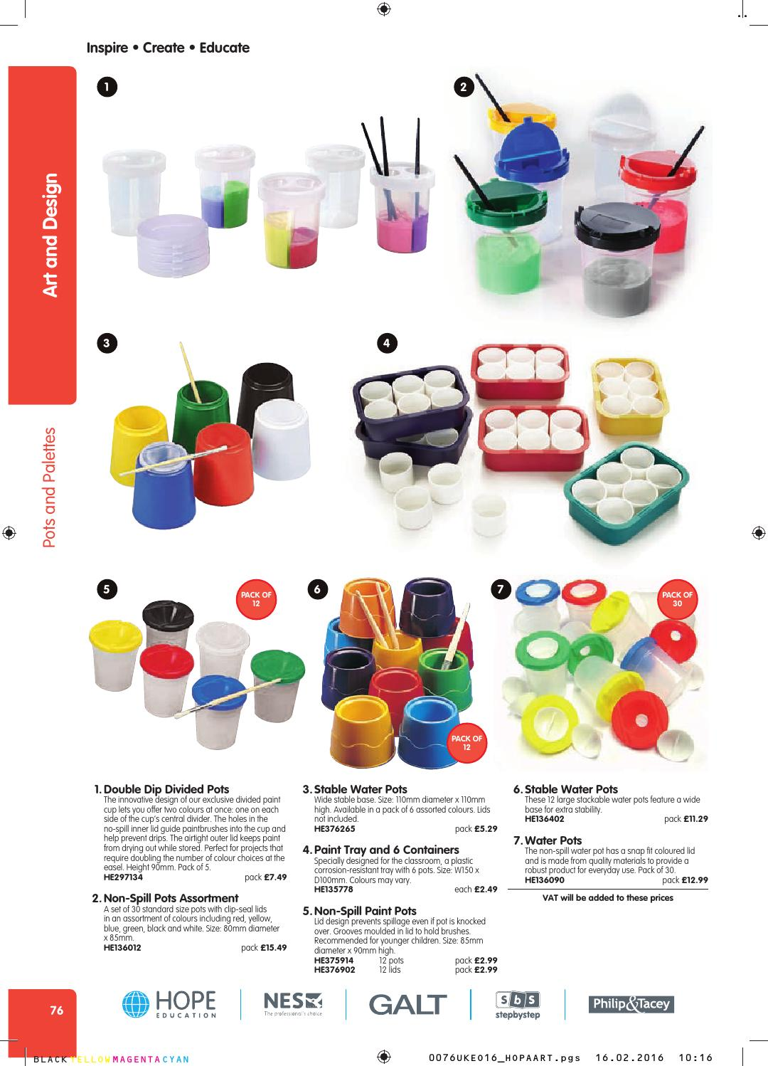 Non Spill Paint Pots and Lids Pack of 12