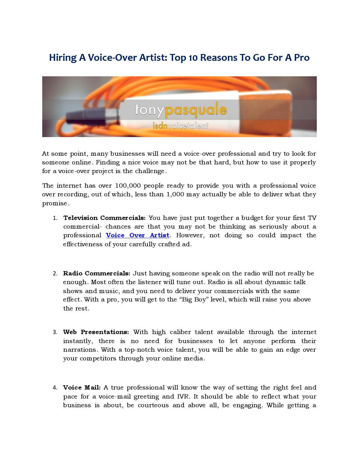 Hiring A Voice Over Artist Top 10 Reasons To Go For A Pro By Tony