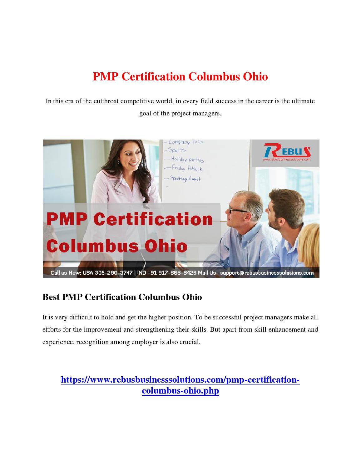 Pmp Certification Columbus Ohio By Sanjanasan01 Issuu