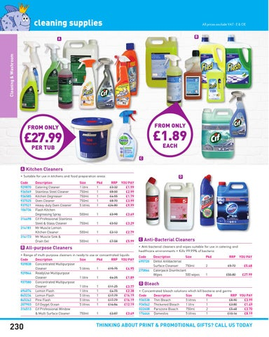 Page 230 Cleaning Supplies
