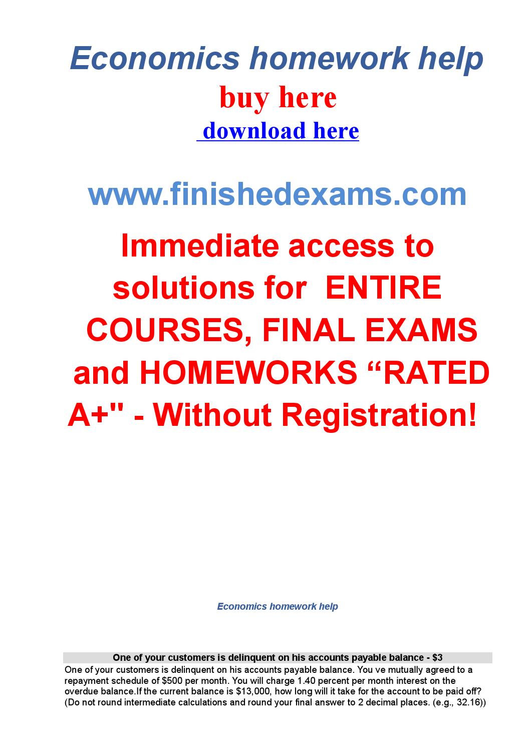 Homework help for economics