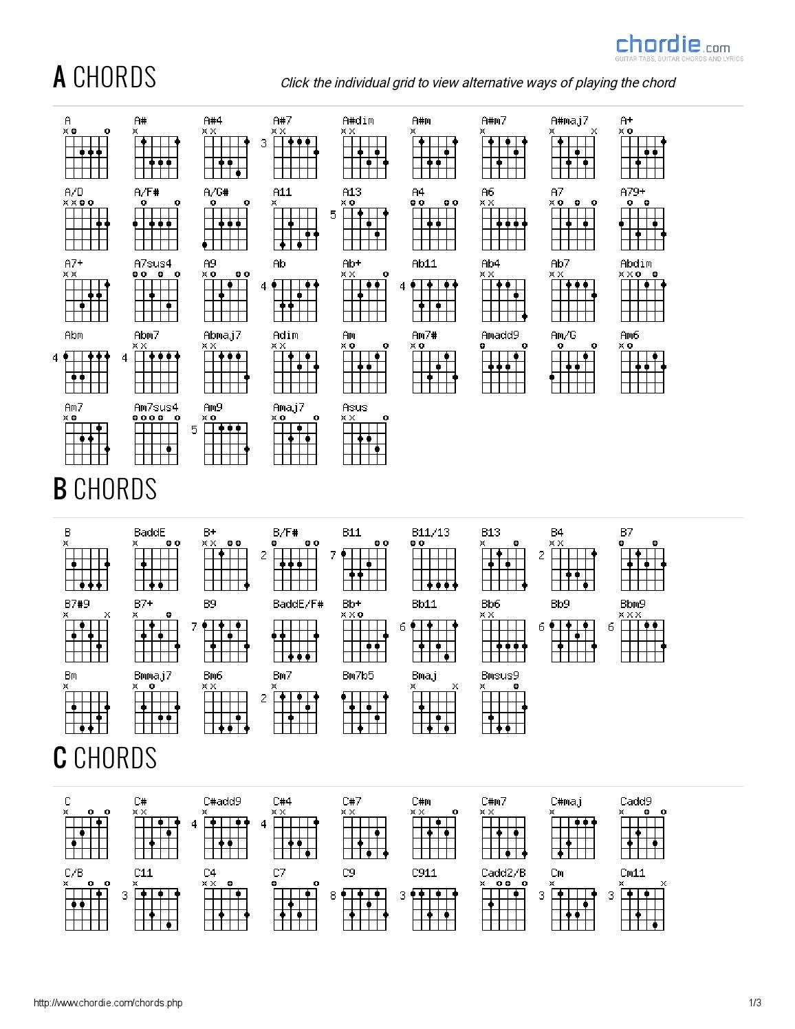 Chord Chart Chordie Guitar Chords Guitar Tabs And Lyrics By Samuel
