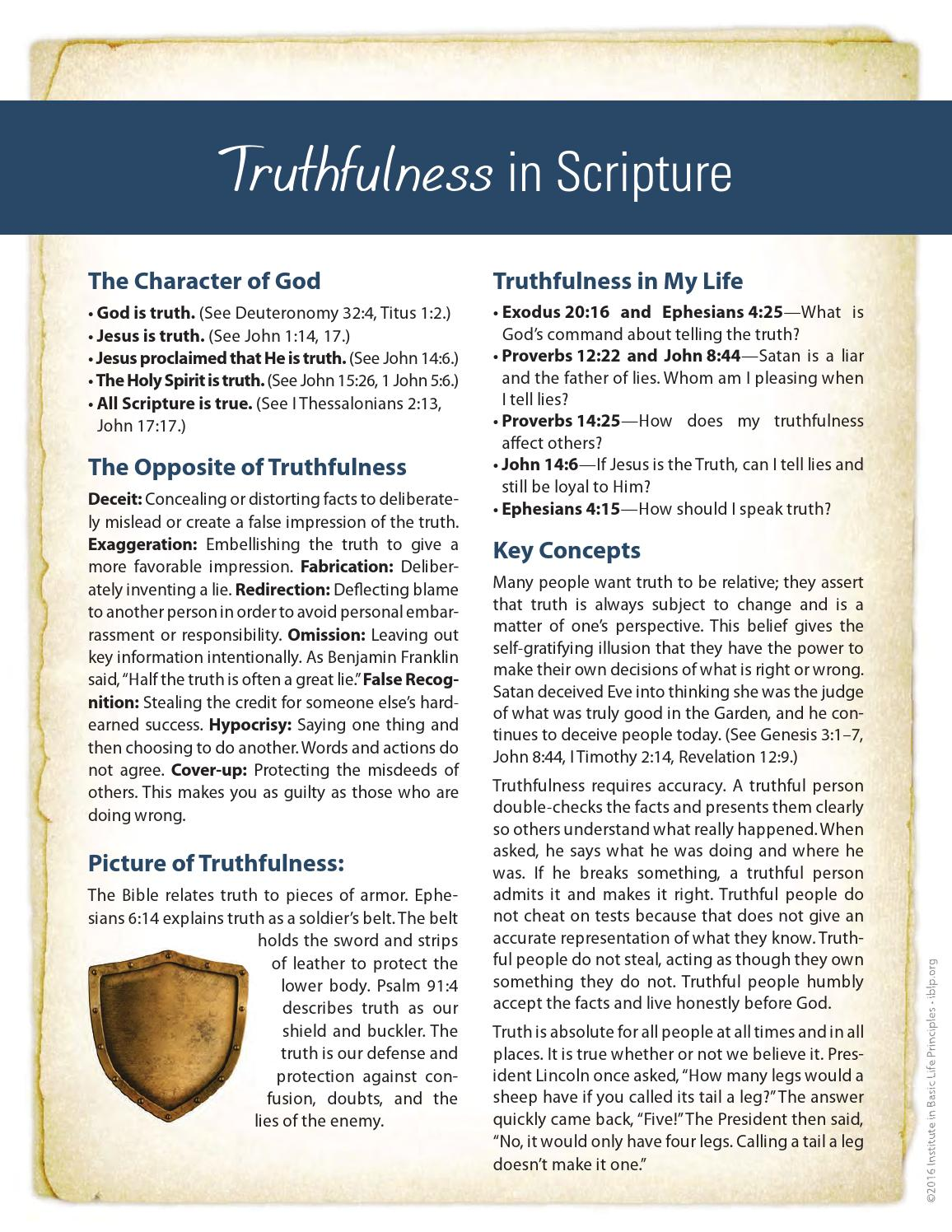Truthfulness Biblical Character Curriculum by Institute in Basic