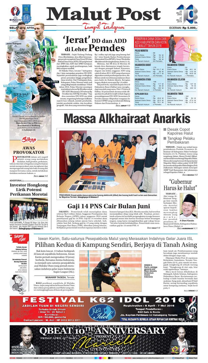 Malut Post 12 April 2016 By Issuu Kopi Bubuk Ridha Utama Smg