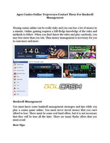 Agen Casino Online Terpercaya Contact Them For Bankroll Management By Edmundevans Issuu