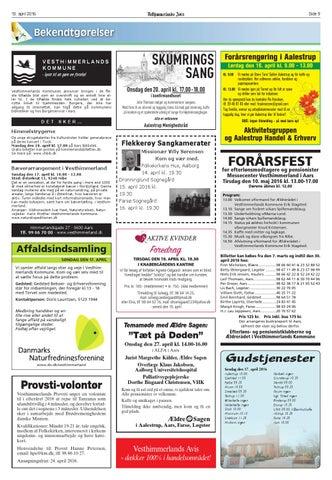 c9fbc02b9205 13. april 2016. Side 9. Bekendtgørelser. SKUMRINGS SANG Vesthimmerlands ...