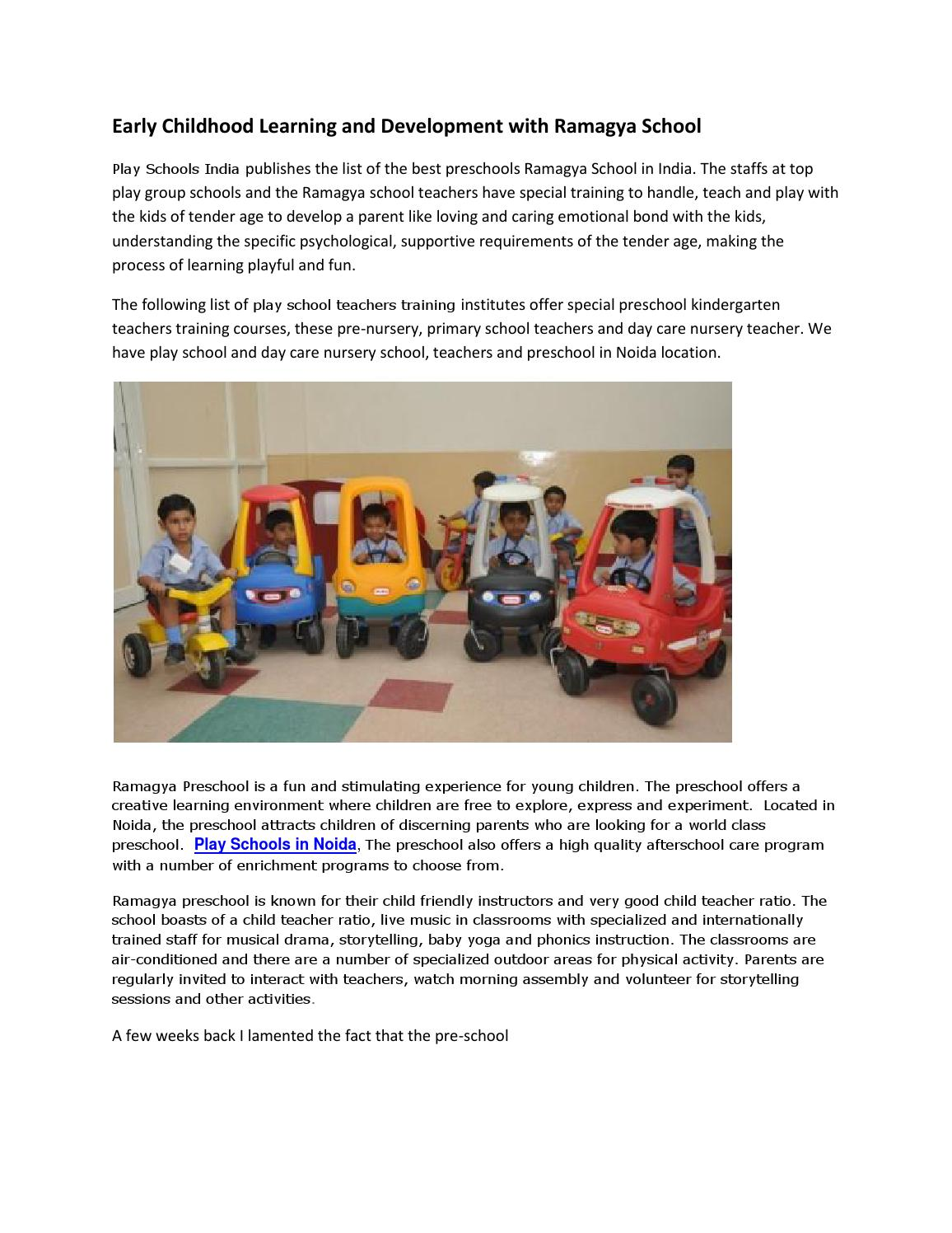 Early Childhood Learning and Development with Ramagya School