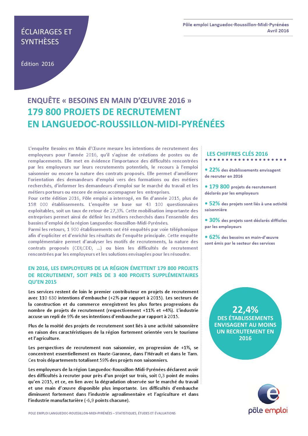 Languedoc roussillon pole emploi enqu te sur les besoins de main d 39 oeuvre en 2016 by herault - Cabinet de recrutement languedoc roussillon ...