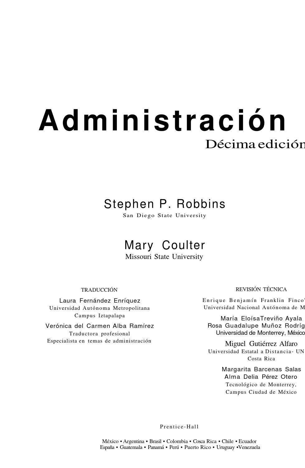 Administracion - Stephen Robbins y Mary Coulter by Univerity Books ...