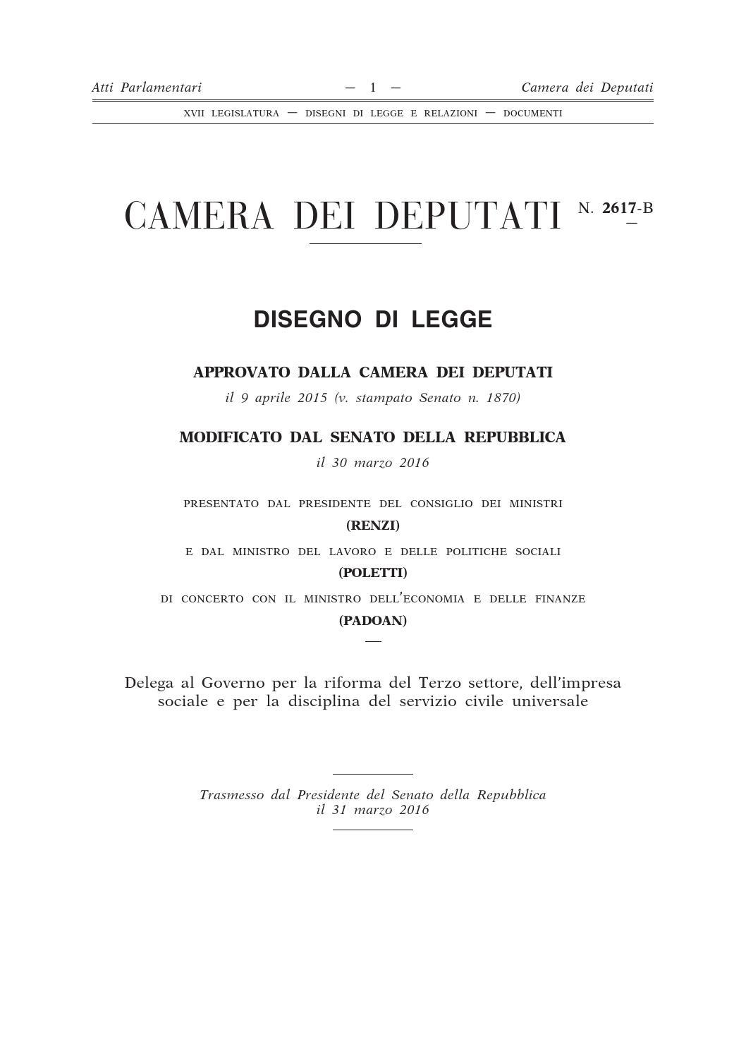 Riforma del terzo settore by giorgiaboscolo issuu for Settore della camera