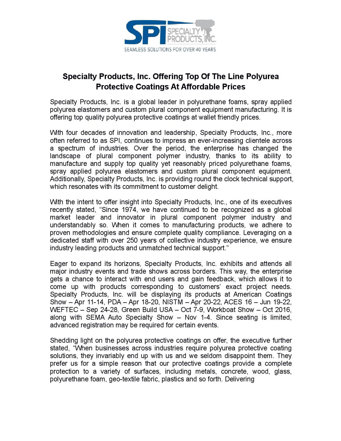 Specialty products, inc offering top of the line polyurea
