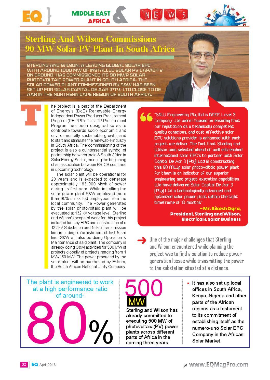 EQ Int'l Magazine April 2016 Edition by EQ Int'l Solar Media