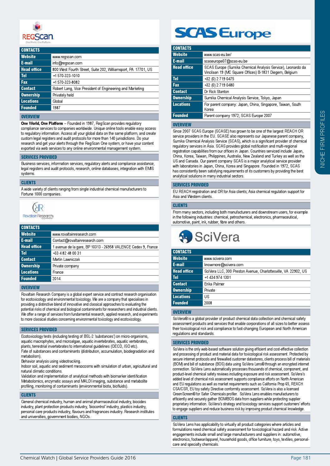 Chemical Watch Service Providers Guide 2016 by Chemical