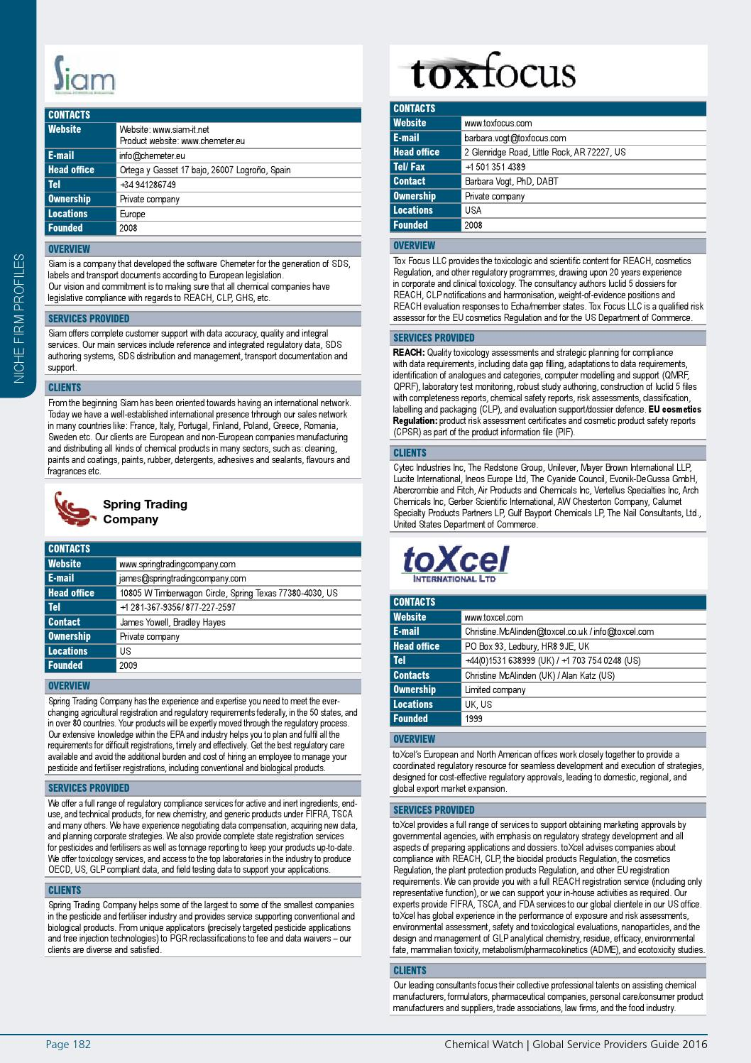 Chemical Watch Service Providers Guide 2016 by Chemical Watch - issuu