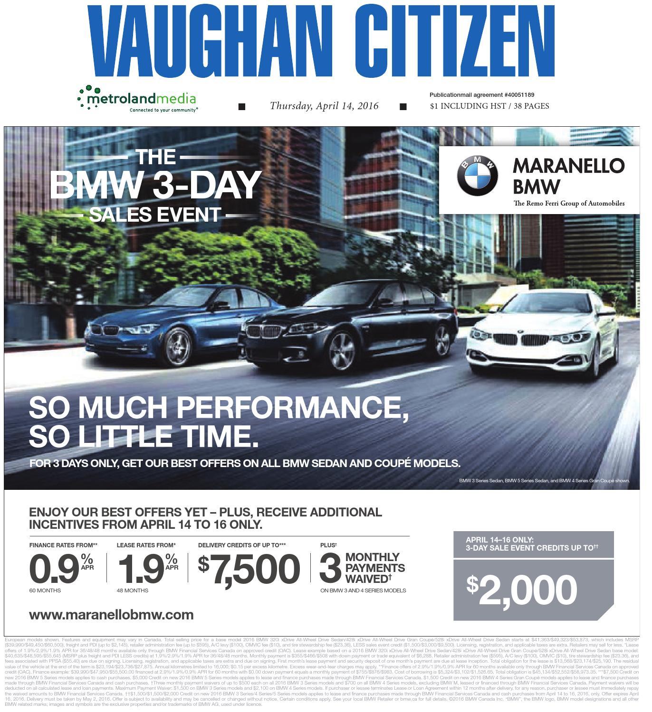 Lease Bmw 428i: Vaughan Citizen, April 14, 2016 By Vaughan Citizen