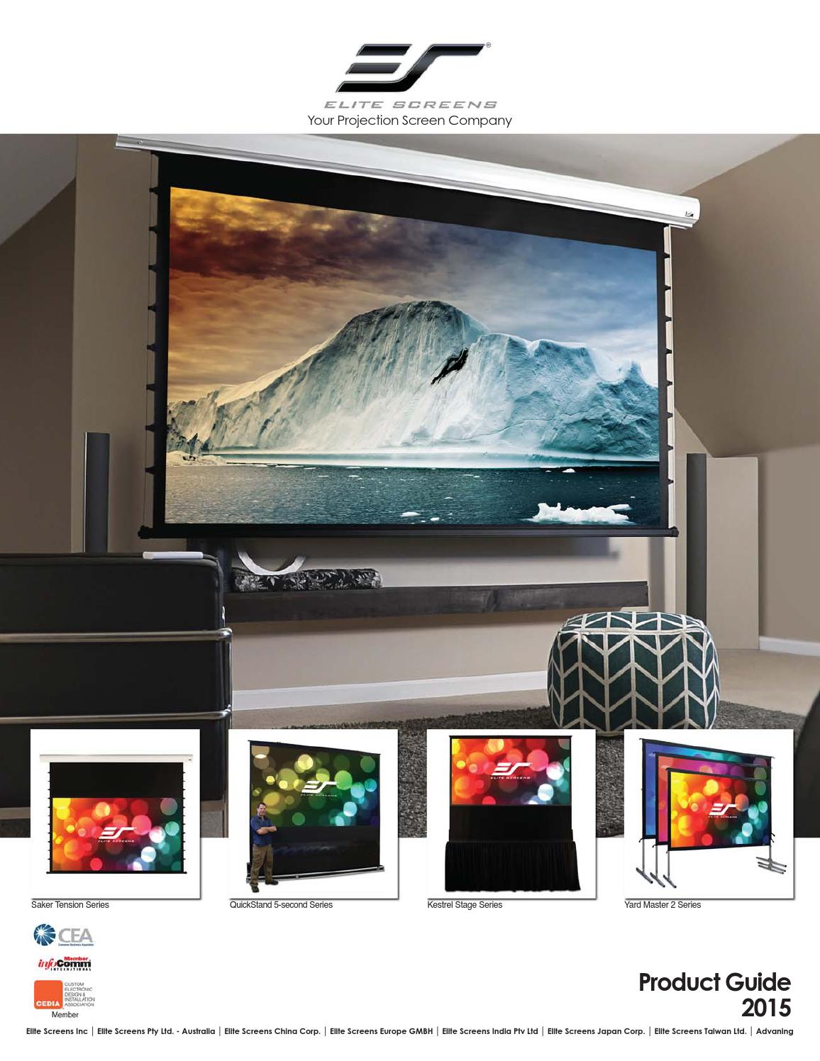 "NEW Elite Screen DIY160H1 DIY PRO Series 160/"" 16:9 DynaWhite Projector Screen"