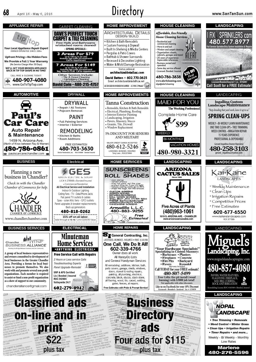 SanTan Sun News: Directory Classifieds - April 16, 2016 by