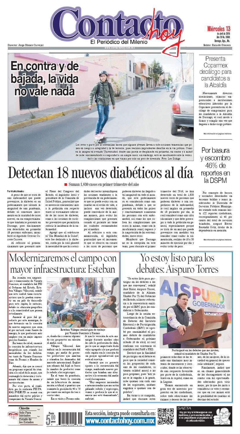 Peri Dico Contacto Hoy Del 13 De Abril Del 2016 By Contacto Hoy  # Muebles Rekreo Colombia