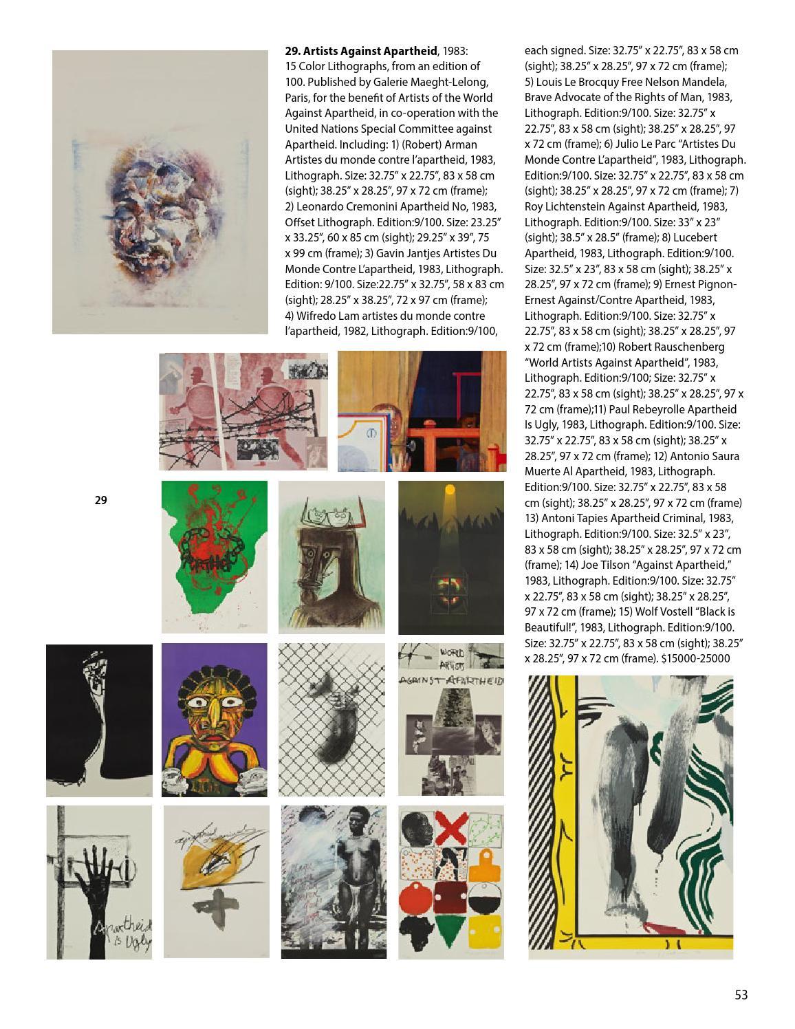 Roy Lichtenstein-Against Apartheid-1983 Lithograph