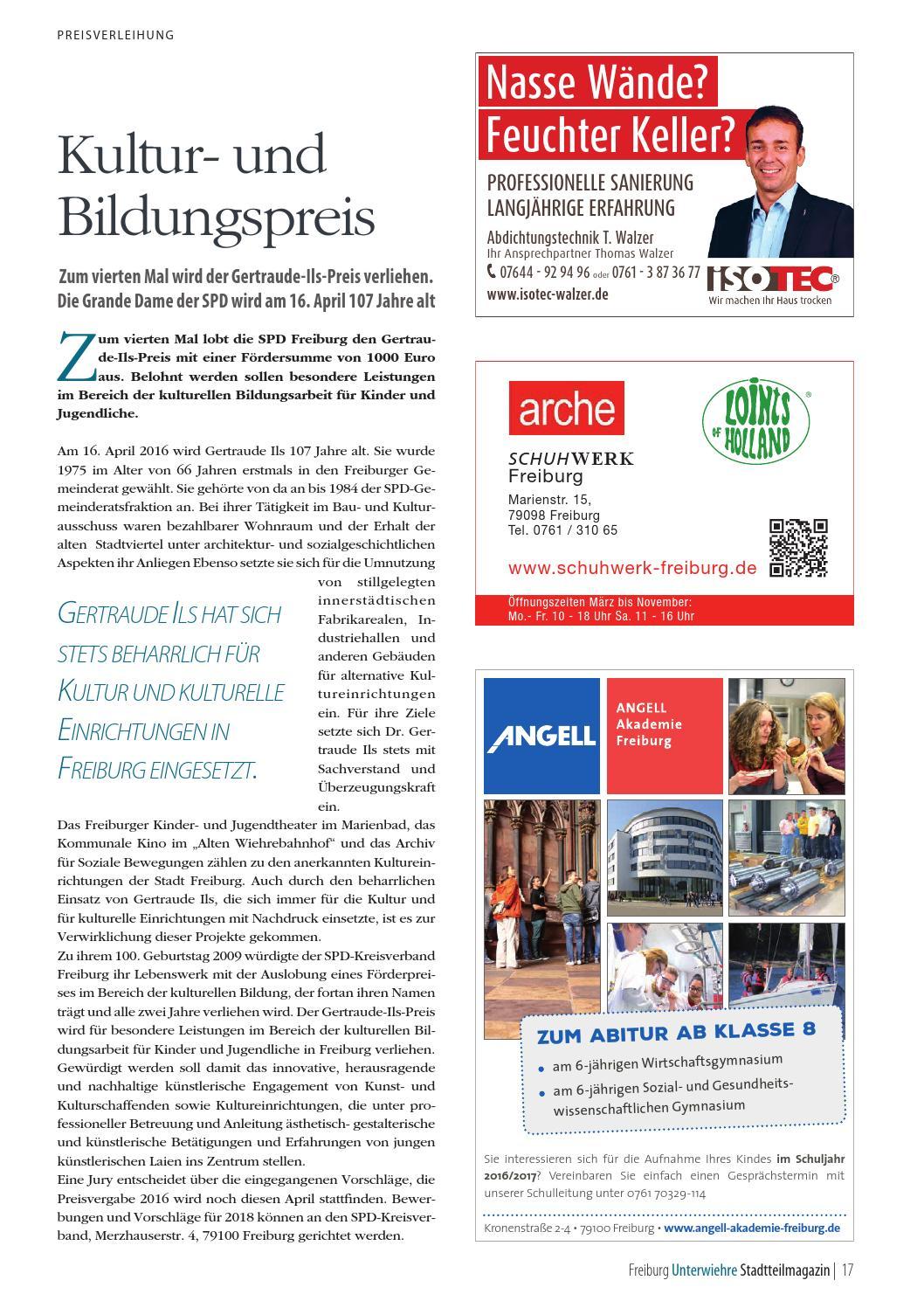 Wiehre Magazin April 2016 By Zeitung Am Samstag Verlags Gmbh Issuu