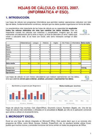 Teoria y actividades excel 2007 4c2ba eso by Andres armijos - issuu