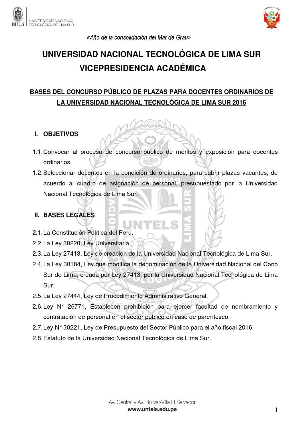 Bases del Concurso Público de Plazas para Docentes Ordinarios de la ...