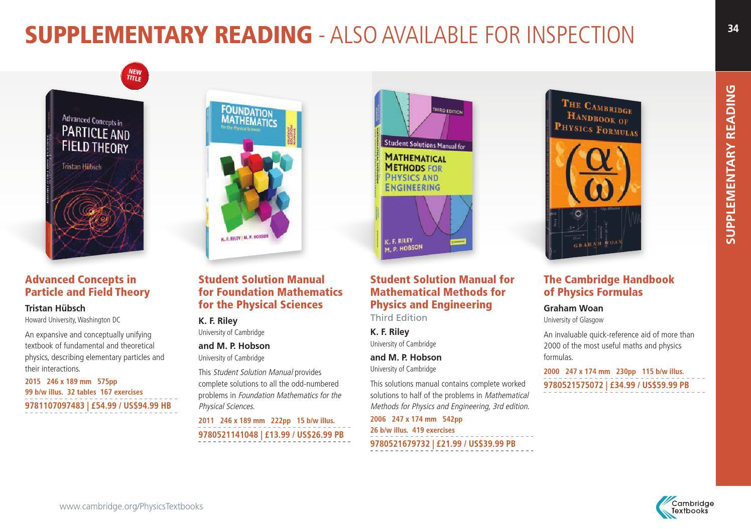 Physics Textbooks from Cambridge by Cambridge University