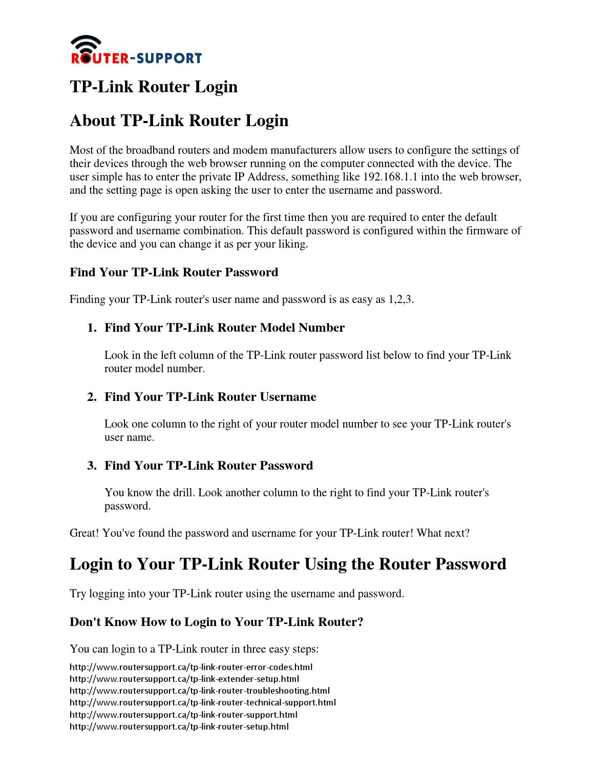 Tp link router login by Routersupportcanada - issuu