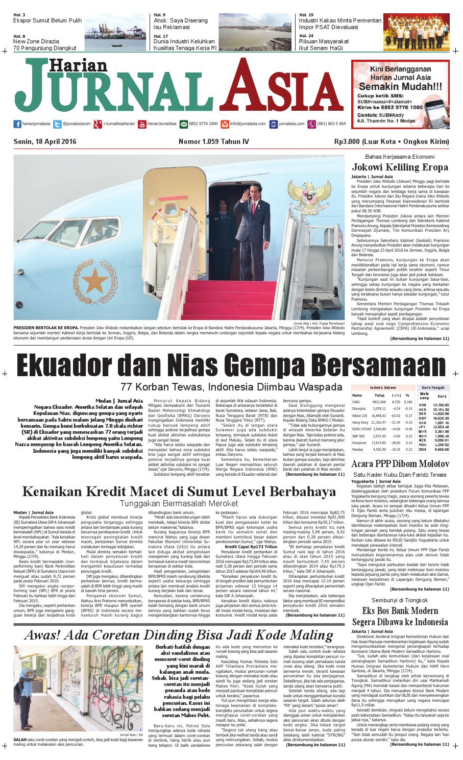 Harian Jurnal Asia Edisi Senin 18 April 2016 By Harian