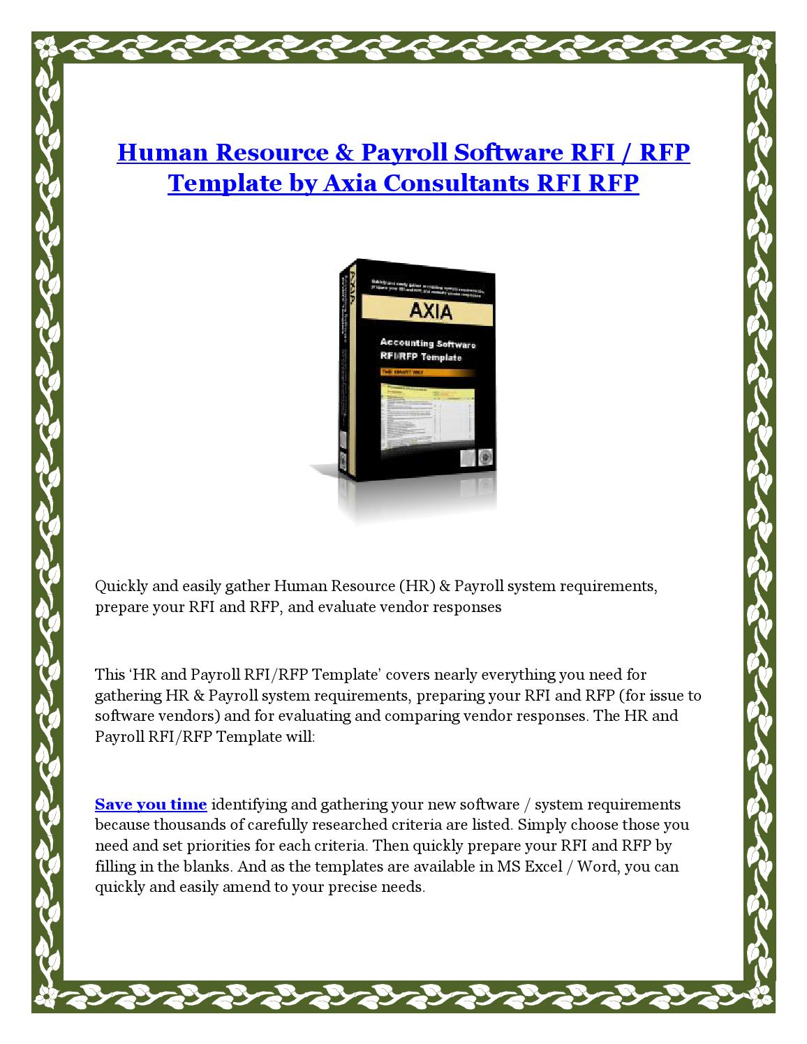 Human Resource Payroll Software Rfi Rfp Template By Axia