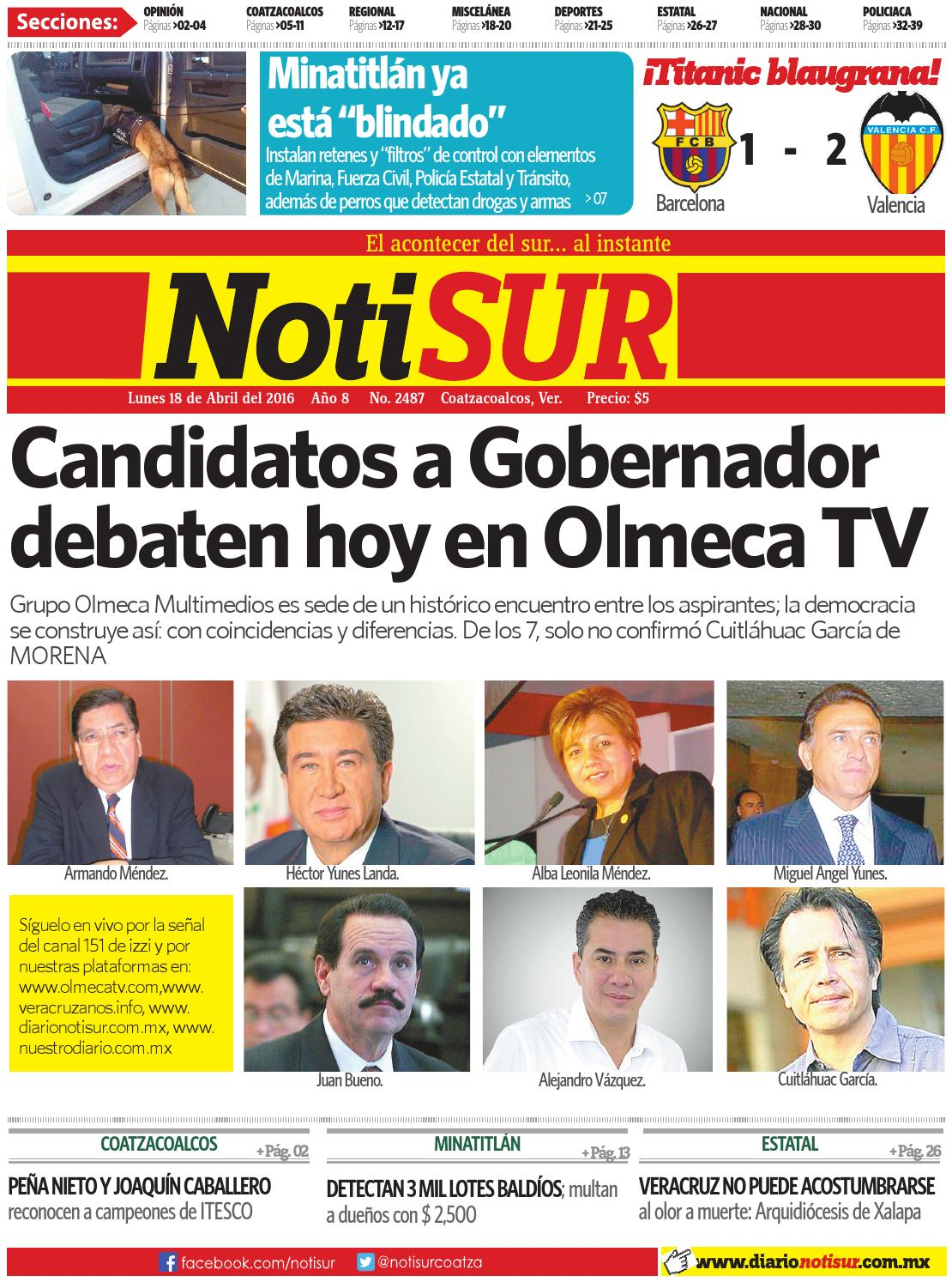 407aedfd30 NotiSUR 18 de abril 2016 by Diario NotiSUR Coatzacoalcos 2015