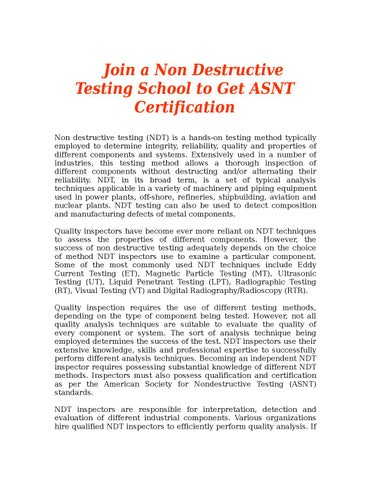 Join a non destructive testing school to get asnt certification by ...