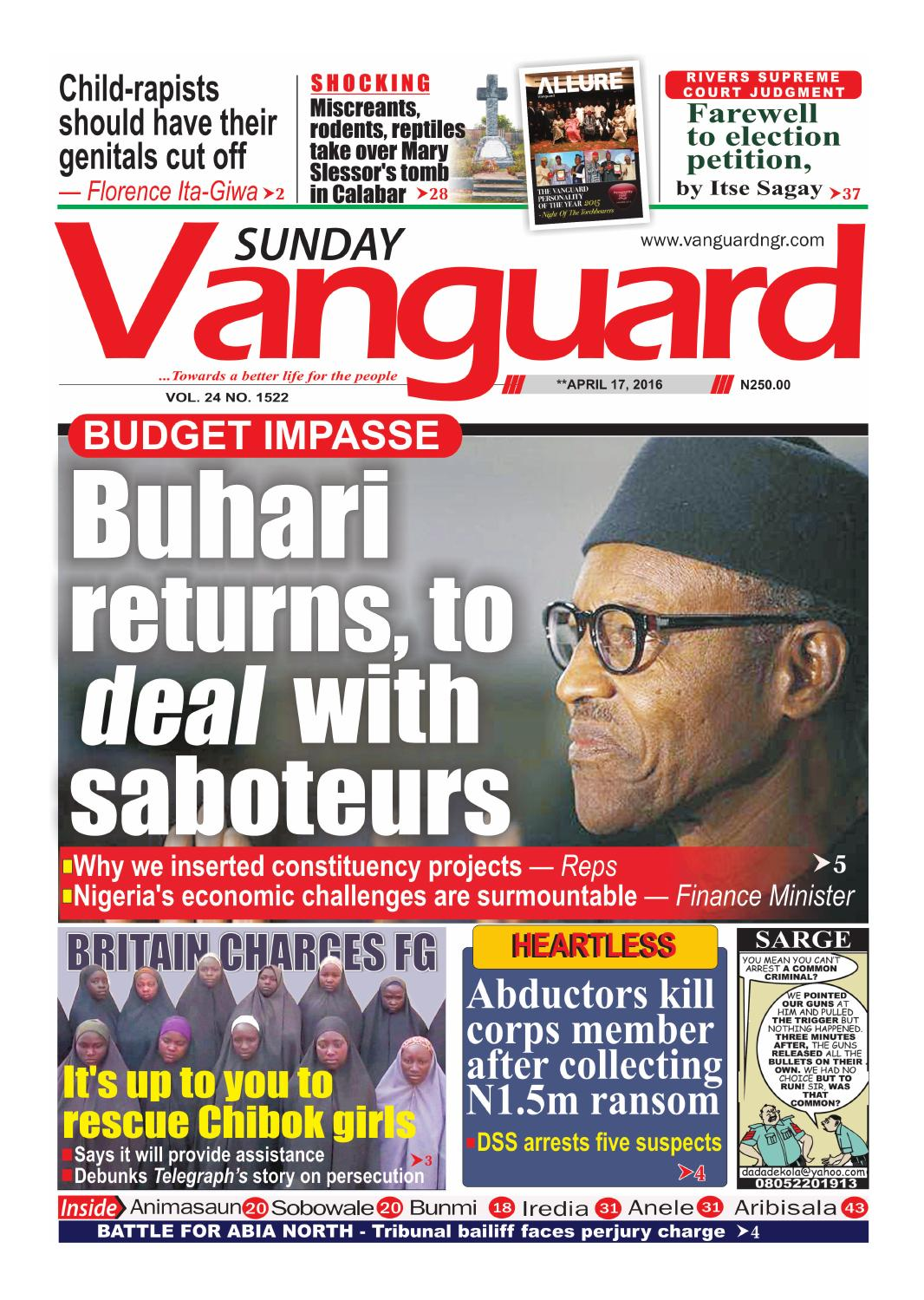 Buhari returns, to deal with saboteurs by Vanguard Media
