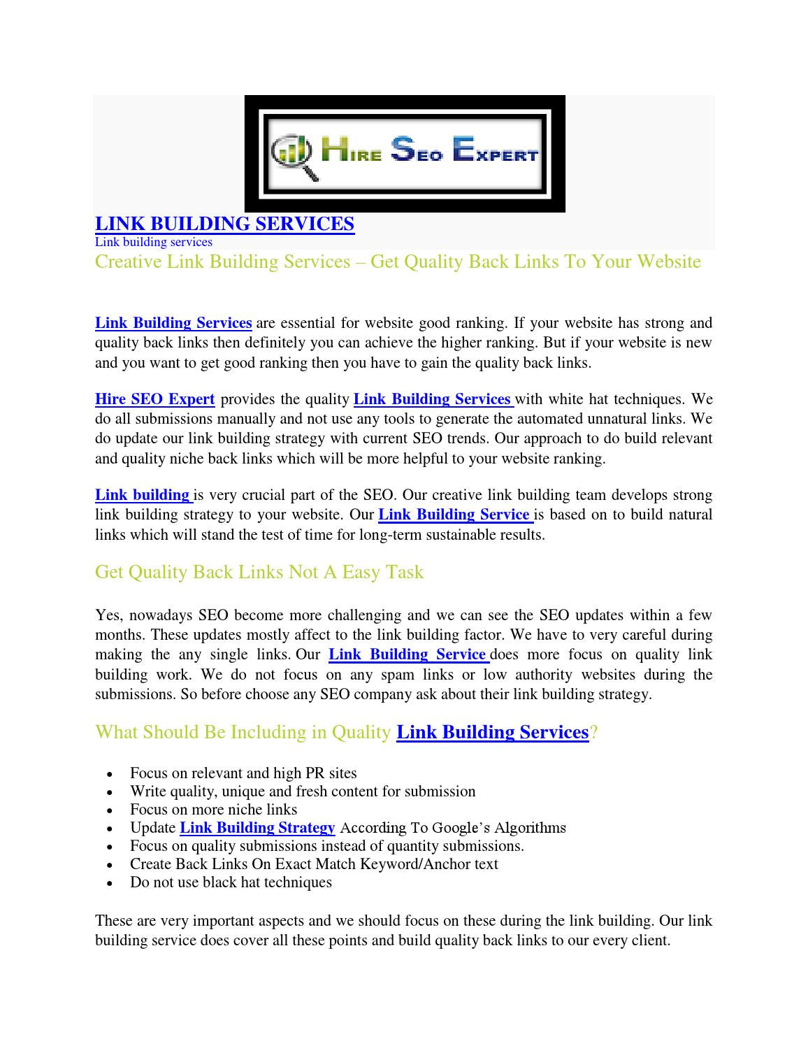 Creative link building services – get quality back links to