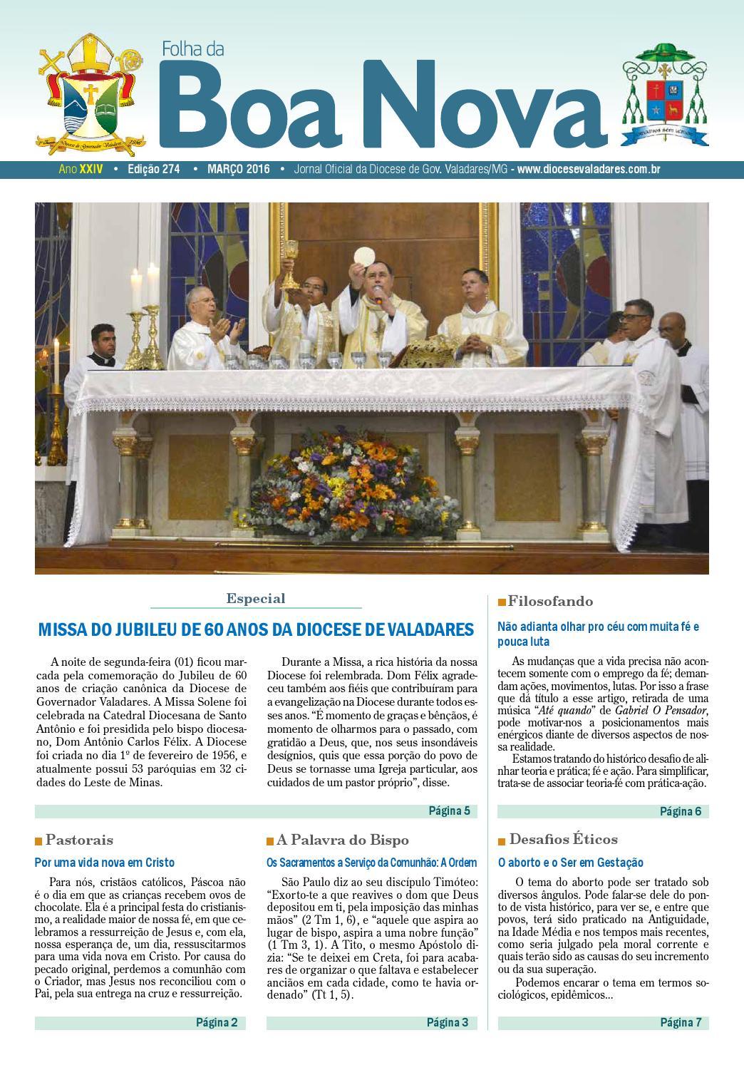 fc6e1c59be8c Folha da Boa Nova Edição 274 Março/2016 by Dicoese de Governador Valadares  - issuu