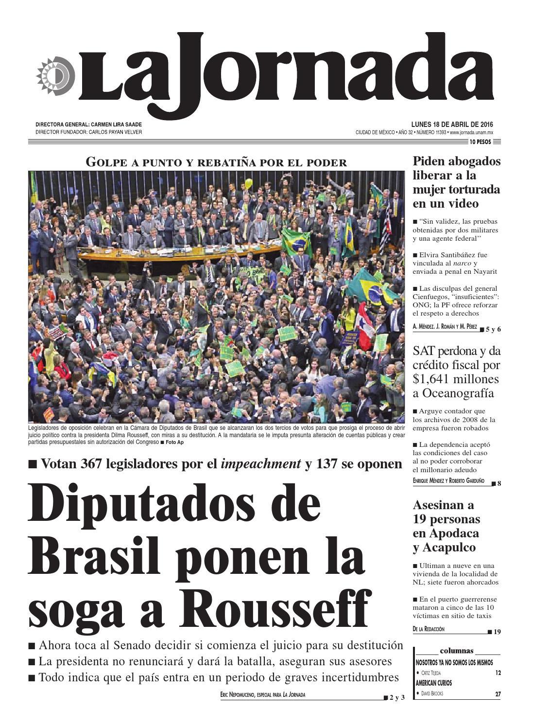 La Jornada, 04/18/2016 by La Jornada: DEMOS Desarrollo de Medios SA ...