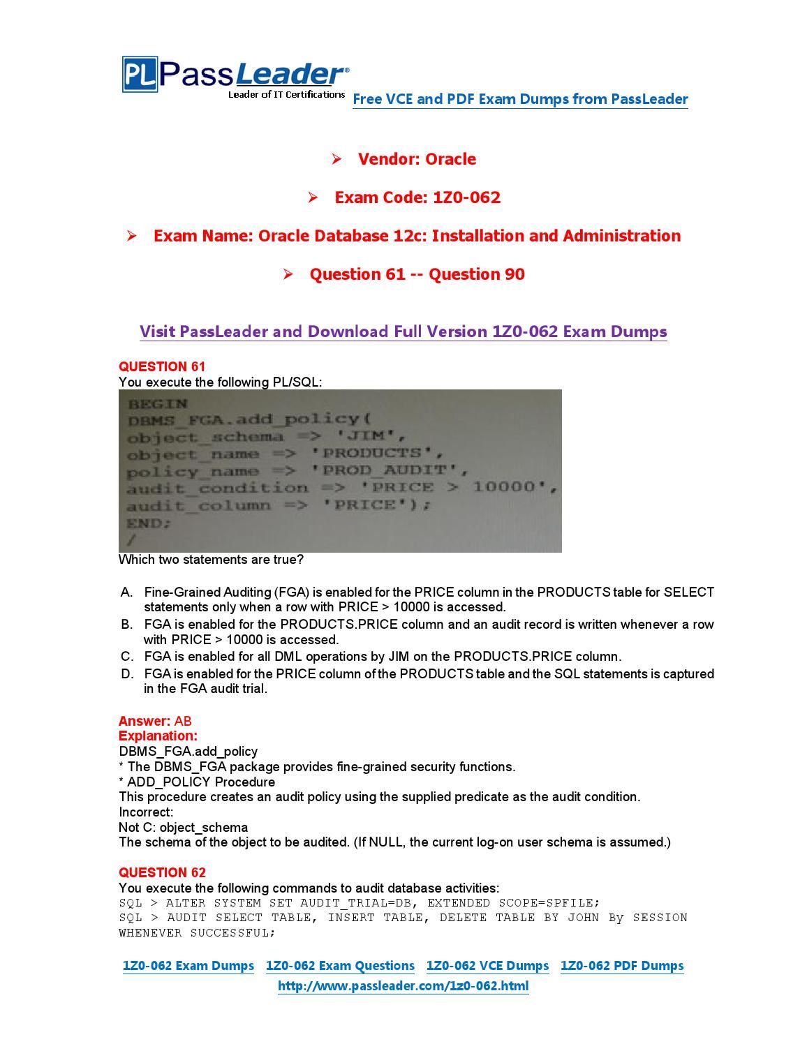 oracle sql certification dumps pdf
