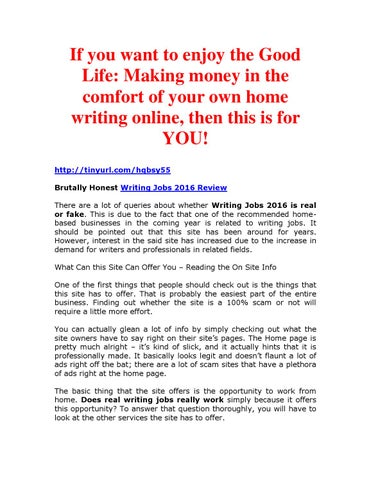 writing jobs review by sunnysingh issuu  making money in the comfort of your own home writing online then this is for you tinyurl com hqbsy55 brutally honest writing jobs 2016 review