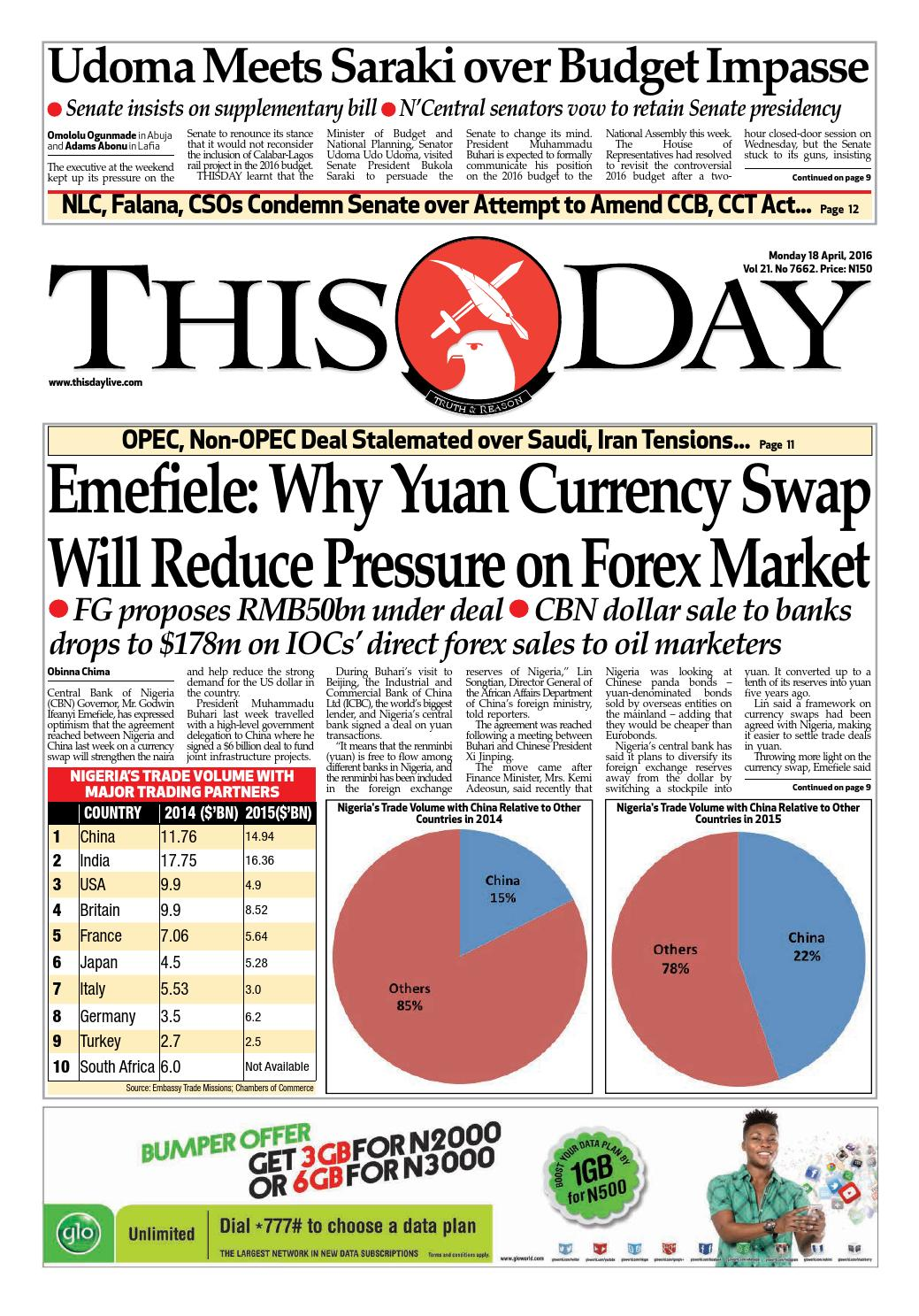 Monday 18th April 2016 by THISDAY Newspapers Ltd - issuu
