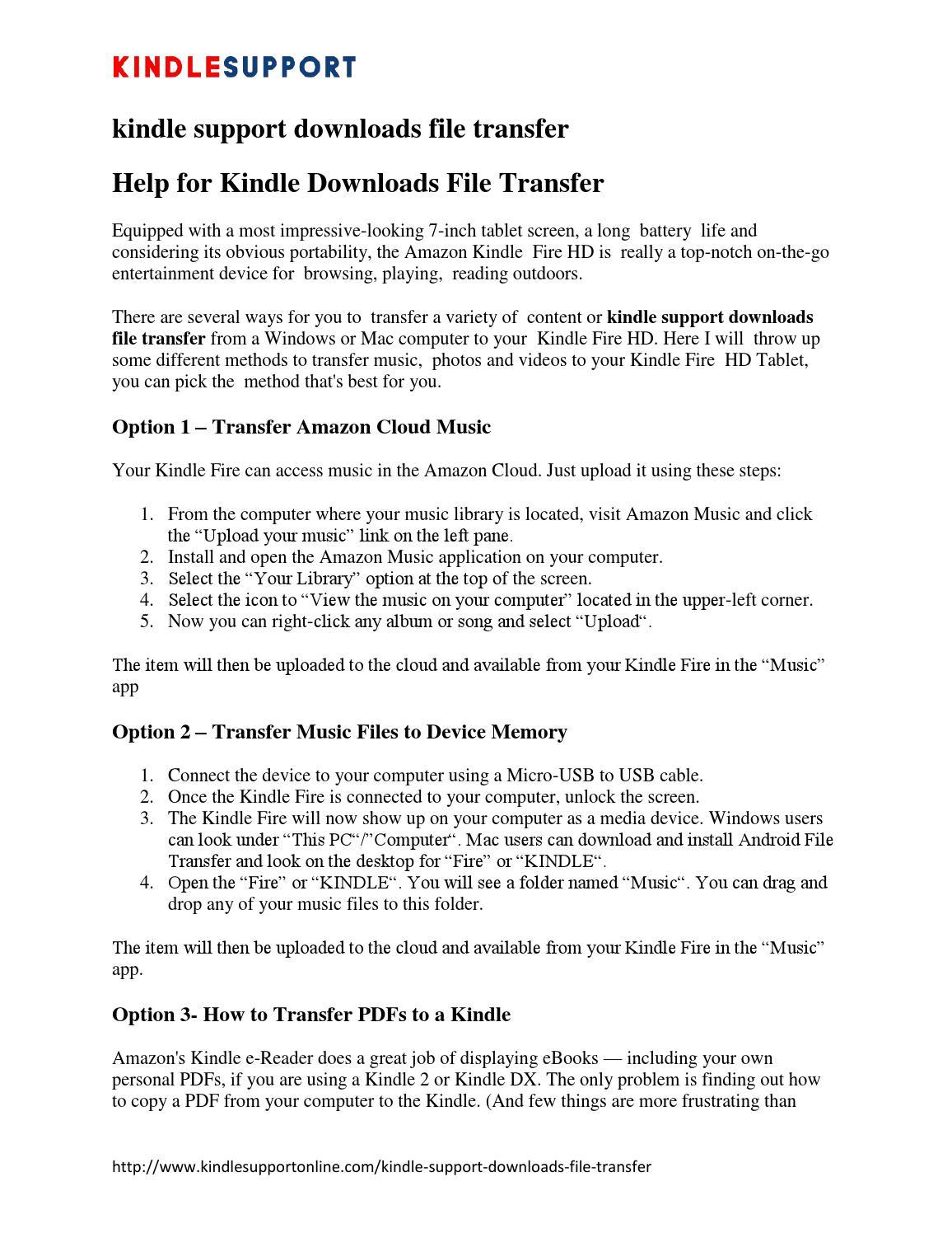 Kindle support downloads file transfer