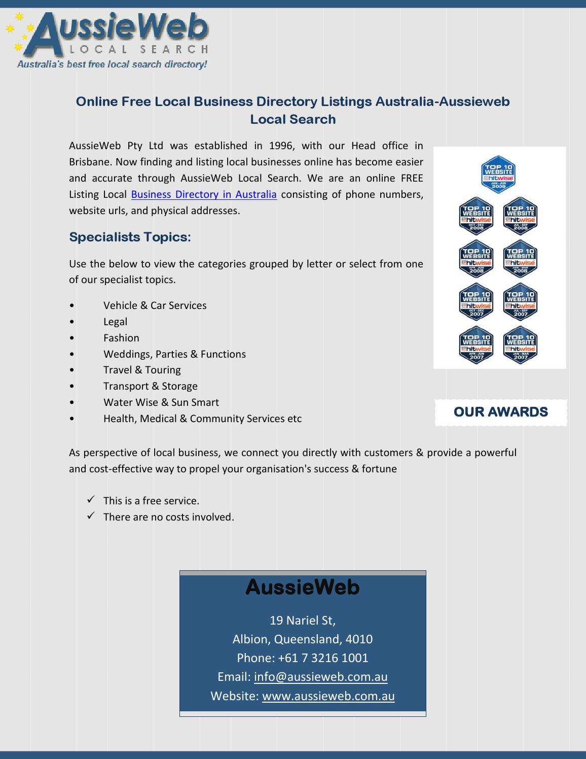 Online Free Local Business Directory Listings Australia