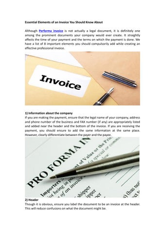 Essential Elements Of An Invoice You Should Know About By Proforma