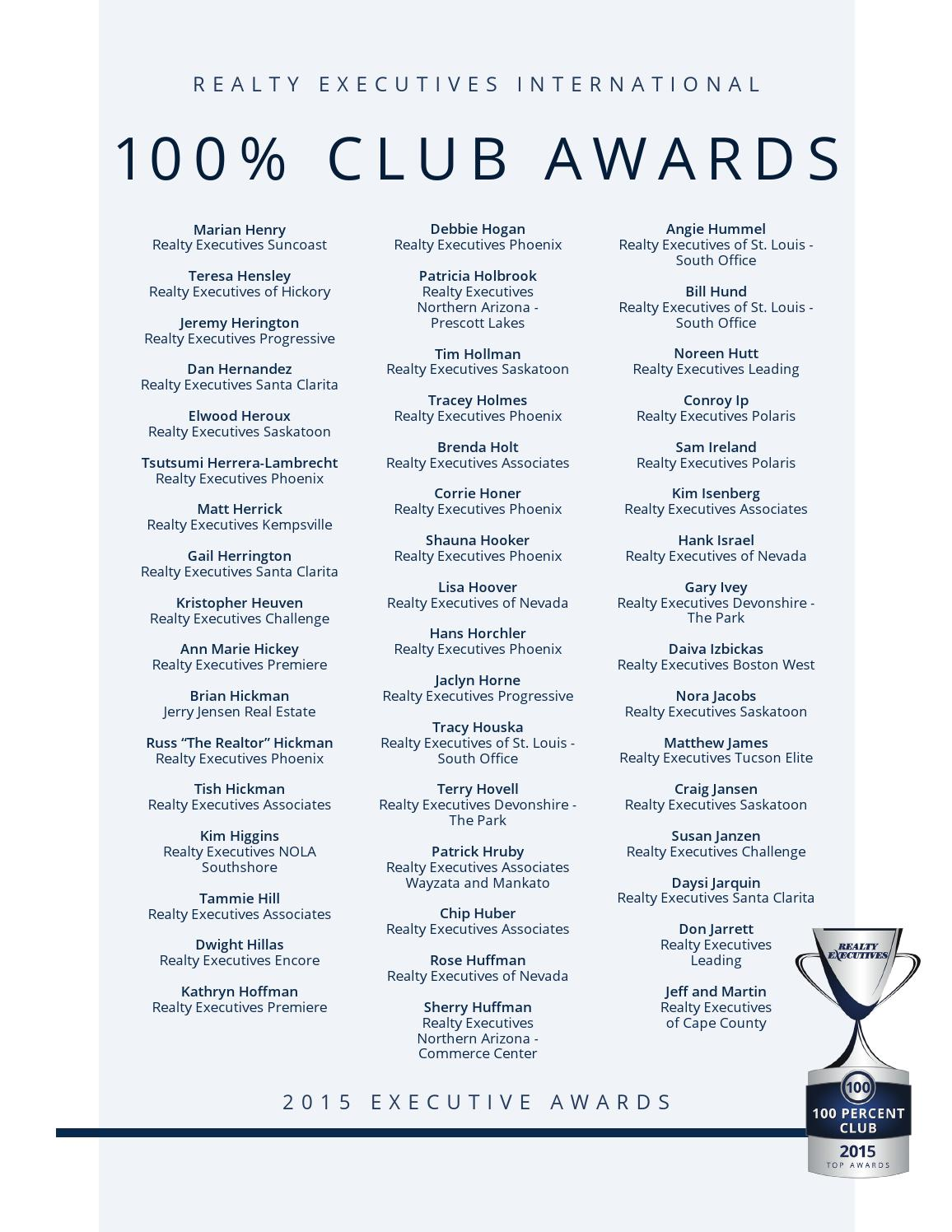 2017 Realty Executives Top Awards By International Issuu