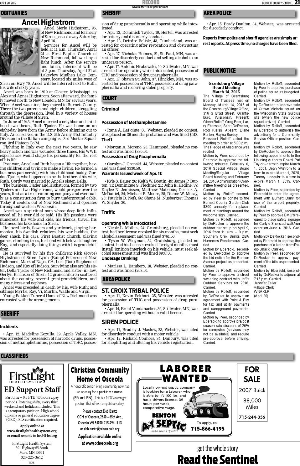 Burnett County Sentinel April 20 2016 By Burnett County Sentinel
