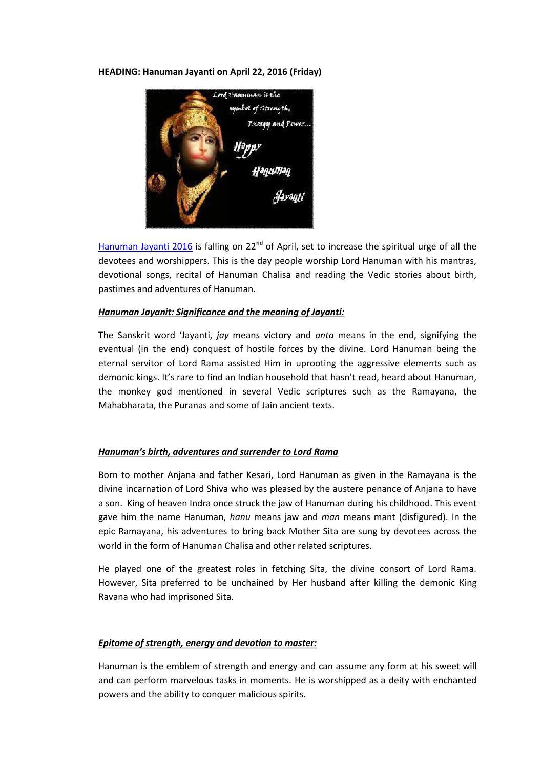 Celebrate Hanuman Jayanti by Ram Nayar - issuu