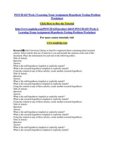 Hypothesis Testing Problem Worksheet - Worksheets