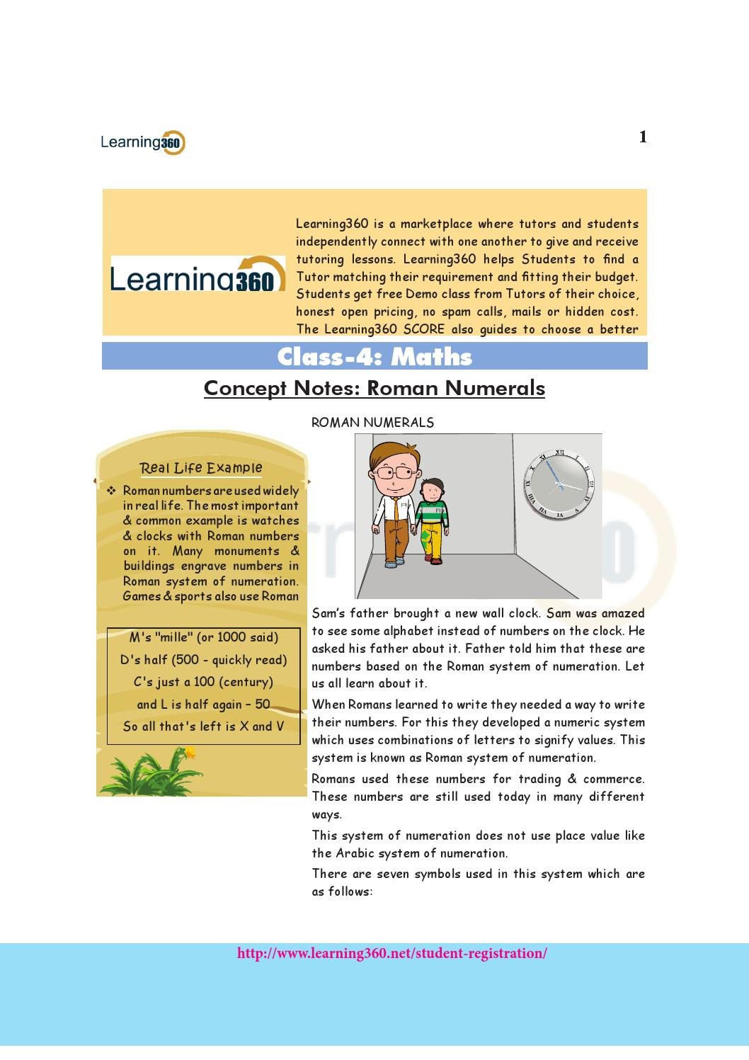 Maths Concept Notes Class 4 Roman Numerals By Learning 360 Issuu