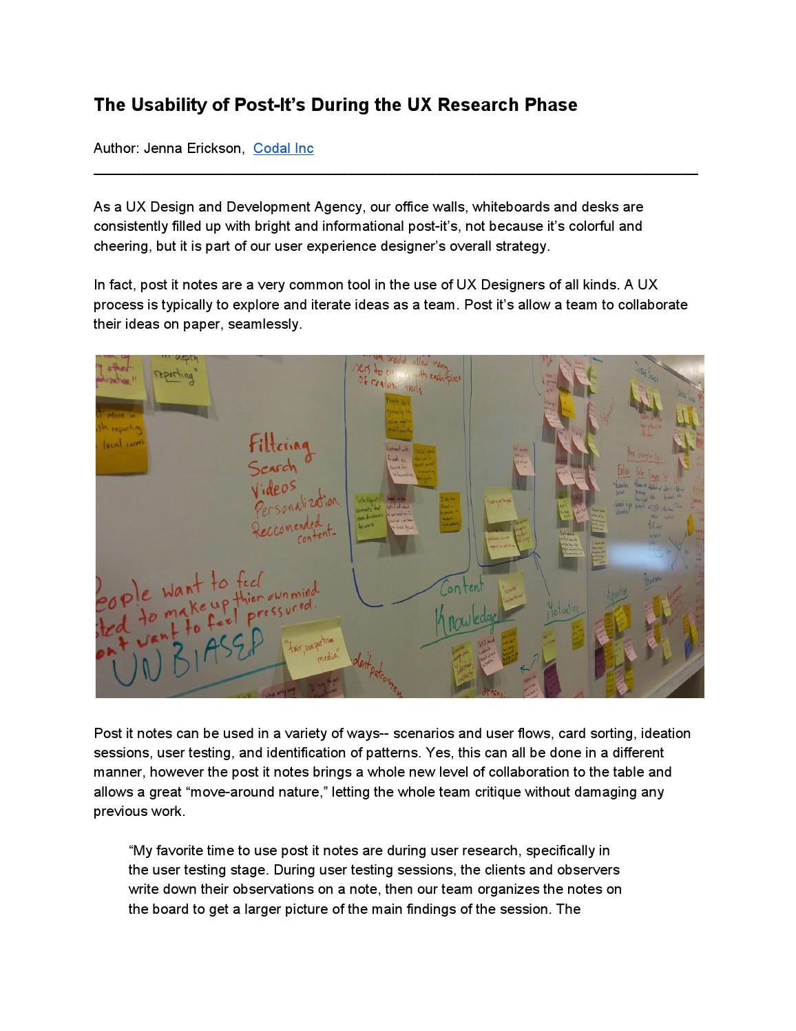The Usability Of Post Its During Ux Research Phase By Codal Inc Process Flow Diagram Issuu