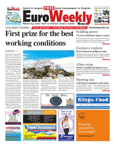 Euro weekly news costa de almeria 21 27 april 2016 issue 1607 by page 1 fandeluxe Gallery